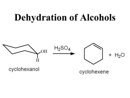 alkenes from alcohols cyclohexene from cyclohexanol Experiment 2: preparation of cyclohexene from cyclohexanol dehydration of an alcohol is one of the most classic elimination reaction it is called dehydration since the loss of an oh from one carbon and a proton from adjacent carbon produces a molecule of water this is an acid catalyzed reaction when eliminating.
