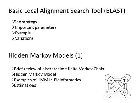 Hidden Markov Models (1)  Brief review of discrete time finite Markov Chain  Hidden Markov Model  Examples of HMM in Bioinformatics  Estimations Basic.