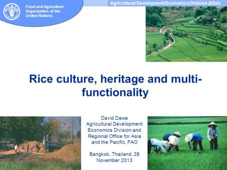 Agricultural Development Economics Division (ESA) Food and Agriculture Organization of the United Nations Rice culture, heritage and multi- functionality.