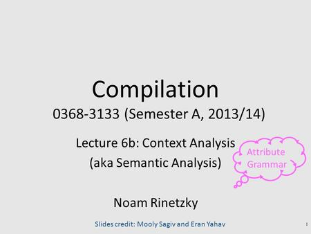 Compilation 0368-3133 (Semester A, 2013/14) Lecture 6b: Context Analysis (aka Semantic Analysis) Noam Rinetzky 1 Slides credit: Mooly Sagiv and Eran Yahav.