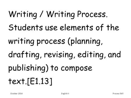 Process Skill Writing / Writing Process. Students use elements of the writing process (planning, drafting, revising, editing, and publishing) to compose.
