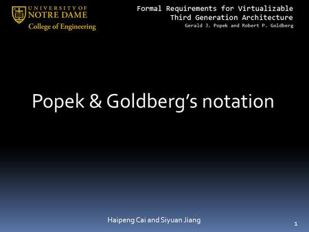 Popek & Goldberg's notation