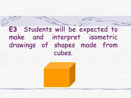 E3 Students will be expected to make and interpret isometric drawings of shapes made from cubes.