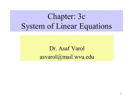 Chapter: 3c System of Linear Equations