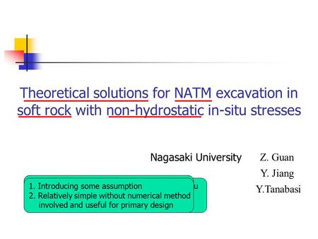 Theoretical solutions for NATM excavation in soft rock with non-hydrostatic in-situ stresses Nagasaki University Z. Guan Y. Jiang Y.Tanabasi 1. Philosophy.