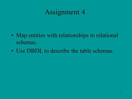 1 Assignment 4 Map entities with relationships to relational schemas. Use DBDL to describe the table schemas.