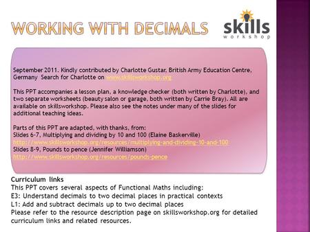 Working with Decimals Curriculum links