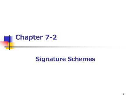 1 Chapter 7-2 Signature Schemes. 2 Outline [1] Introduction [2] Security Requirements for Signature Schemes [3] The ElGamal Signature Scheme [4] Variants.