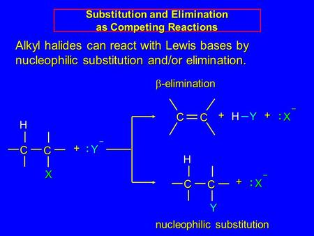 Alkyl halides can react with Lewis bases by nucleophilic substitution and/or elimination. C CHX + Y : – C C Y H X : – + C C + H Y X : – +  -elimination.