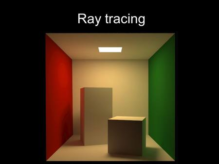 Ray tracing. New Concepts The recursive ray tracing algorithm Generating eye rays Non Real-time rendering.