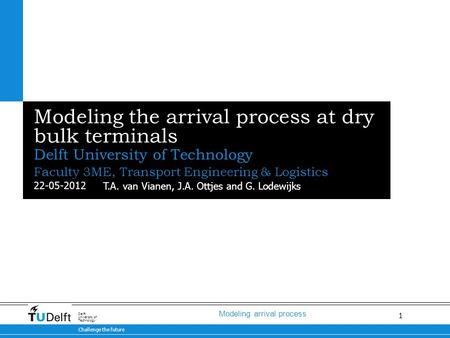 1 Modeling arrival process 22-05-2012 Challenge the future Delft University of Technology Modeling the arrival process at dry bulk terminals Delft University.