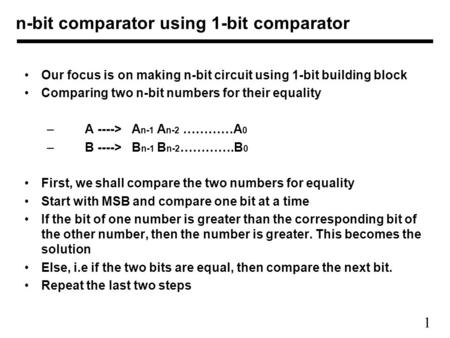n-bit comparator using 1-bit comparator