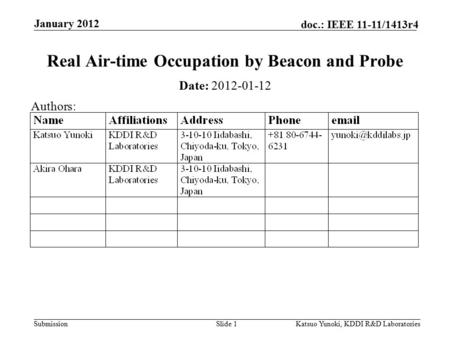 Submission doc.: IEEE 11-11/1413r4 January 2012 Katsuo Yunoki, KDDI R&D LaboratoriesSlide 1 Real Air-time Occupation by Beacon and Probe Date: 2012-01-12.