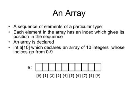 An Array A sequence of elements of a particular type Each element in the array has an index which gives its position in the sequence An array is declared.