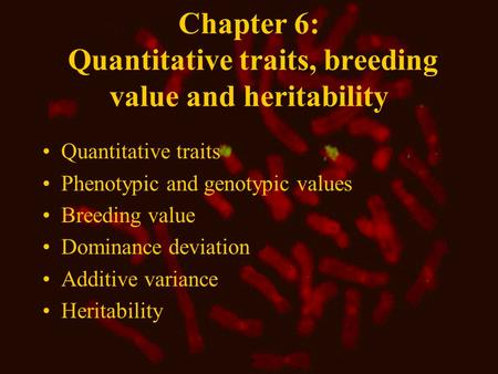 Chapter 6: Quantitative traits, breeding value and heritability Quantitative traits Phenotypic and genotypic values Breeding value Dominance deviation.