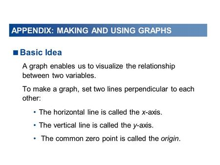  Basic Idea A graph enables us to visualize the relationship between two variables. To make a graph, set two lines perpendicular to each other: The horizontal.