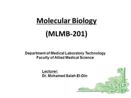 Molecular Biology Department of Medical Laboratory Technology