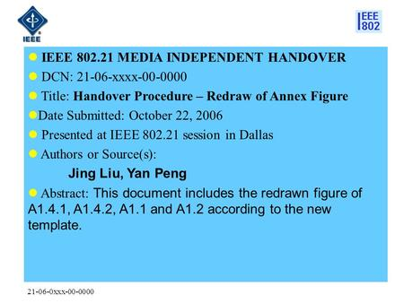 21-06-0xxx-00-0000 IEEE 802.21 MEDIA INDEPENDENT HANDOVER DCN: 21-06-xxxx-00-0000 Title: Handover Procedure – Redraw of Annex Figure Date Submitted: October.