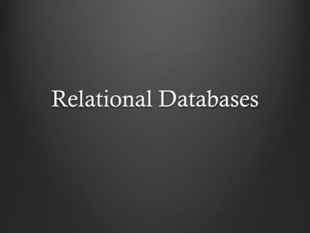 Relational Databases. dbe: a window on a database dbe $ANTELOPE/data/db/demo/demo.
