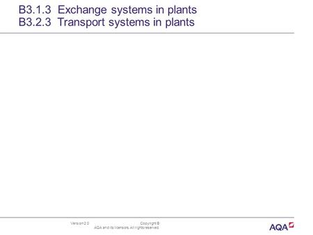 Version 2.0 Copyright © AQA and its licensors. All rights reserved. B3.1.3 Exchange systems in plants B3.2.3 Transport systems in plants.