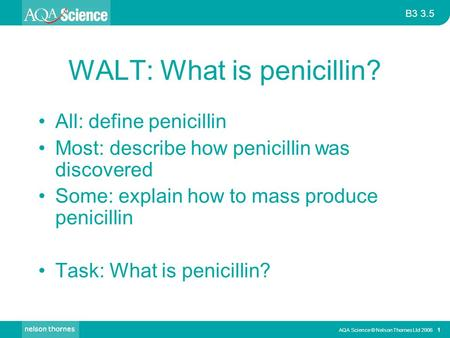WALT: What is penicillin?