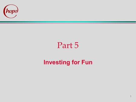 1 Part 5 Investing for Fun. 2 Task B The team of investment consultants for which you are working for intends to launch a new product, a managed portfolio.