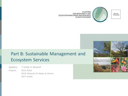 Part B: Sustainable Management and Ecosystem Services Speakers:T. Knoke, R. Mosandl Projects:B2 (K. Roos) B3 (R. Mosandl, M. Weber, B. Stimm) B5 (T. Knoke)