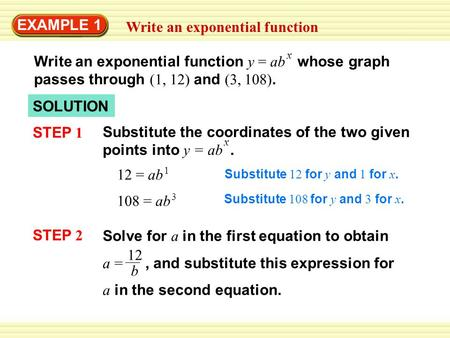 Write an exponential function