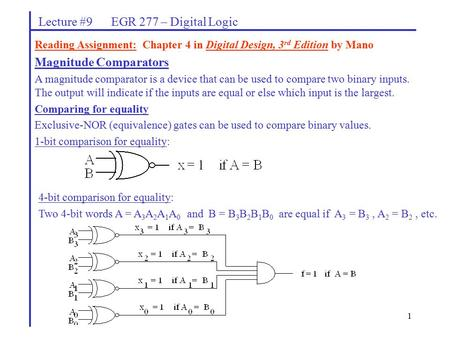 Lecture #9 EGR 277 – Digital Logic