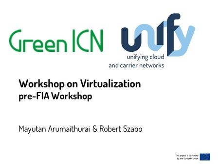 This project is co-funded by the European Union This project is co-funded by the European Union Workshop on Virtualization pre-FIA Workshop Mayutan Arumaithurai.
