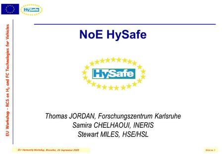 EU Workshop – RCS on H 2 and FC Technologies for Vehicles Slide no. 1 EU-HarmonHy Workshop, Bruxelles, 26 September 2005 NoE HySafe Thomas JORDAN, Forschungszentrum.