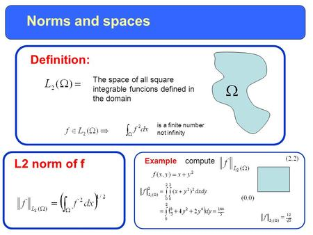 Norms and spaces Definition: The space of all square integrable funcions defined in the domain is a finite number not infinity L2 norm of f Examplecompute.