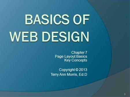 Chapter 7 Page Layout Basics Key Concepts Copyright © 2013 Terry Ann Morris, Ed.D 1.