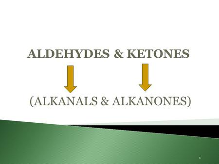 1 ALDEHYDES & KETONES (ALKANALS & ALKANONES). alkanealcohol aldehyde ketone carboxylic acid oxidation reduction addition product nucleophilic addition.