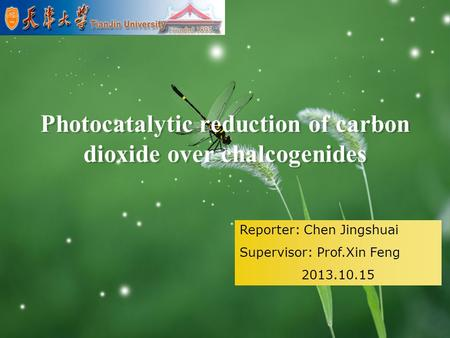 LOGO Photocatalytic reduction of carbon dioxide over chalcogenides Reporter: Chen Jingshuai Supervisor: Prof.Xin Feng 2013.10.15.