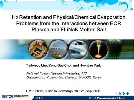 1 Div. Of Plasma Application & Tech. H 2 Retention and Physical/Chemical Evaporation Problems from the Interactions between ECR Plasma and FLiNaK Molten.