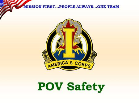 POV Safety MISSION FIRST…PEOPLE ALWAYS…ONE TEAM. AGENDA POV / Motorcycle Safety Quiz POV Accident Statistics Standards Six Point POV Safety Program Washington.
