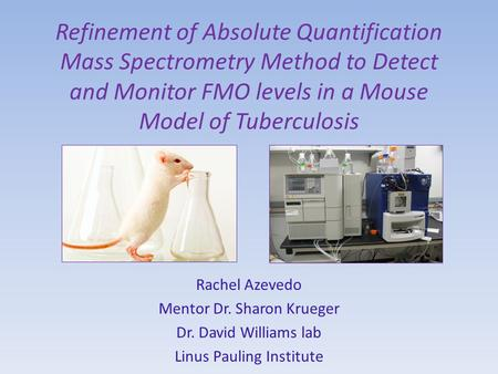 Refinement of Absolute Quantification Mass Spectrometry Method to Detect and Monitor FMO levels in a Mouse Model of Tuberculosis Rachel Azevedo Mentor.