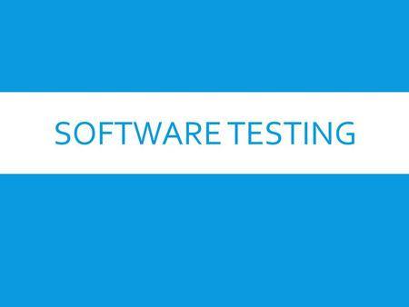 SOFTWARE TESTING. INTRODUCTION  Software Testing is the process of executing a program or system with the intent of finding errors.  It involves any.