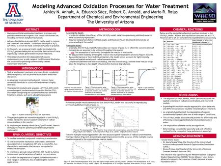 Modeling Advanced Oxidation Processes for Water Treatment Ashley N. Anhalt, A. Eduardo Sáez, Robert G. Arnold, and Mario R. Rojas Department of Chemical.