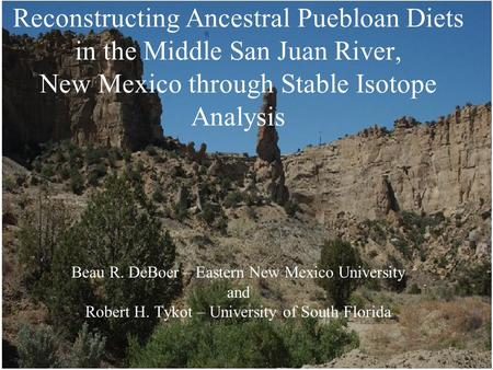 Reconstructing Ancestral Puebloan Diets in the Middle San Juan River, New Mexico through Stable Isotope Analysis Beau R. DeBoer – Eastern New Mexico University.
