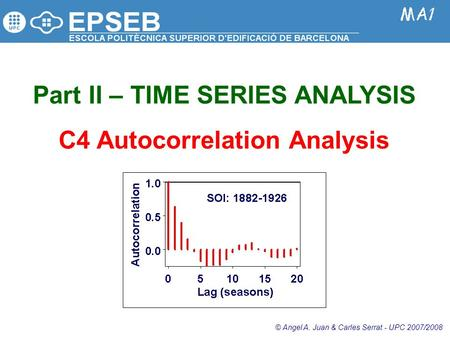 Part II – TIME SERIES ANALYSIS C4 Autocorrelation Analysis © Angel A. Juan & Carles Serrat - UPC 2007/2008.