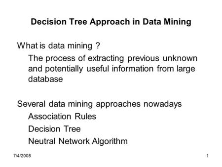 classification based data mining approach for quality