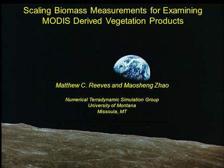 Scaling Biomass Measurements for Examining MODIS Derived Vegetation Products Matthew C. Reeves and Maosheng Zhao Numerical Terradynamic Simulation Group.
