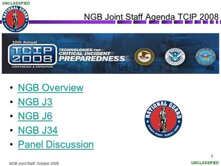UNCLASSIFIED NGB Joint Staff, October 2008 1 NGB Joint Staff Agenda TCIP 2008 NGB Overview NGB J3 NGB J6 NGB J34 Panel Discussion.