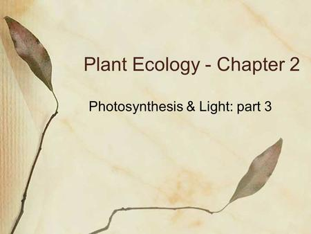 Plant Ecology - Chapter 2 Photosynthesis & Light: part 3.