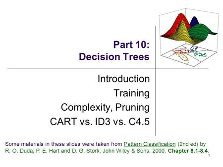 1 Part 10: Decision Trees Introduction Training Complexity, Pruning CART vs. ID3 vs. C4.5 Some materials in these slides were taken from Pattern Classification.