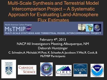 Multi-Scale Synthesis and Terrestrial Model Intercomparison Project – A Systematic Approach for Evaluating Land-Atmosphere Flux Estimates February 4 th,