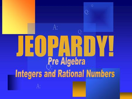 Adding Integers Subtracting Integers Multiplying/ Dividing Order of Operations Word $100 $400 $300 $400 $300 $400 $300 $200 $100 $200 $100 $200 $300.