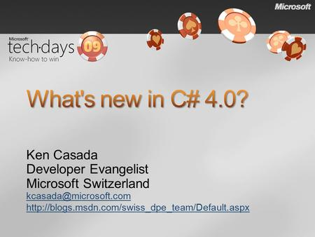 Ken Casada Developer Evangelist Microsoft Switzerland